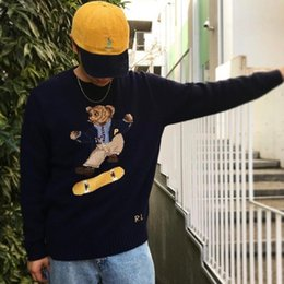 SweatShirt bear online shopping - 18FW PLC X R a l p h Skate Polo Bear Sweater Knitted Sweater Classic Sweatshirt Street Couple Pullover Autumn Winter HFLSMY053