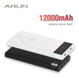 Vente en gros ARUN 12000 mAh Alimentation Banque Batterie Externe 2 USB LED Éclairage Mini Portable Chargeur de Téléphone Portable pour Xiaomi mi iphone XS 8plus