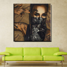 Portrait Oil Modern Australia - 1 Piece Modern Painting Picture Street Graffiti Art Girl Portrait With Tears On Oil Painting Canvas For Home Decor Poster No Framed