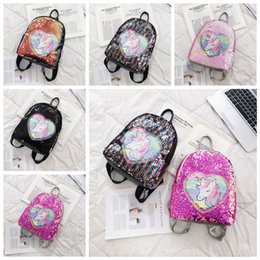 $enCountryForm.capitalKeyWord Australia - 5styles Unicorn Mermaid Sequin Bag Backpack heart zipper Shoulder Strap Shopping Student kids Satchel school bag FFA2371