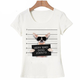 $enCountryForm.capitalKeyWord Australia - Summer Unique Police Chihuahua Design T Shirt Women's short sleeve very bad dog print Tops cool Hipster tees cute girl t shirt