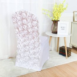 $enCountryForm.capitalKeyWord Australia - Marious Factory Price 100pcs lot white rosette chair cover for wedding party home chair decoration free shipping Wholesale