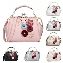 d0903134ba Women Lady Leather Fashion Flower Shoulder Messenger Bag Kiss Lock  Crossbody Tote Handbag Purse