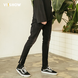 viishow men clothing UK - VIISHOW New Skinny Jeans Men Brand Clothing Solid Thin Pencil Denim Pants Male Top Quality Ripped Jeans For Men Biker NC1114181