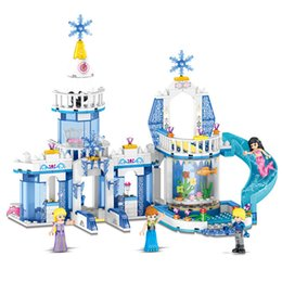 $enCountryForm.capitalKeyWord Australia - New Arrival 2 in 1 Model Frozen Ice Castle Princess Kristoff Mermaid Ariel Mini Toy Figure Building Block Toy For Girl Children