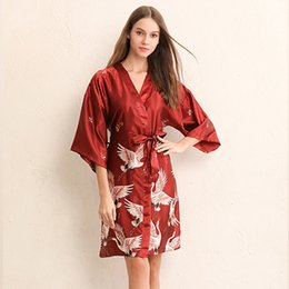 japanese clothing for women NZ - Crane Kimono Japanese Style Sleepwear Satin Dress for Women Plus Yukata Cardigan 2019 News Asian Clothes Fancy Vintage Party