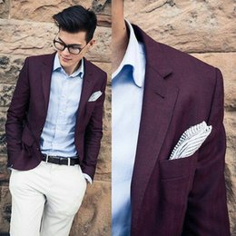 burgundy groom tuxedos Australia - Burgundy Man Suits Groom Tuxedo for Wedding Bridegroom Attire Notched Lapel Costume Homme Best Man Blazer 2Piece White Pants Terno Masculino