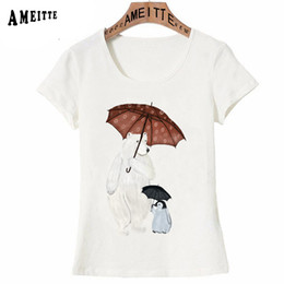 $enCountryForm.capitalKeyWord NZ - wholesale Summer Women T-shirt Cute polar bear and penguin umbrella time Print T-Shirt Vintage Style Girl Tops Hipster Woman
