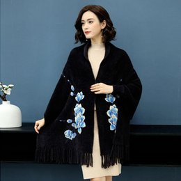 $enCountryForm.capitalKeyWord UK - 2019 Autumn Winter Wome Embroidery Tassel Faux Mink Knitted Scarf Poncho Cardigan Female Thicken Warm Wrap Tricot Cape K186