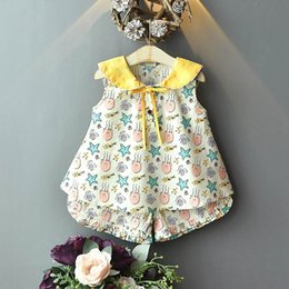 Sweet Girl Clothing Wholesale Australia - Fashion 2019 new kids summer clothes girls suits Cartoon sweet Boutique kids sets kids designer clothes girls outfits Vest+Shorts A5465