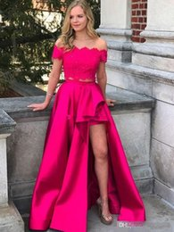 $enCountryForm.capitalKeyWord Australia - Elegant Fuchsia 2019 Cheap Two Pieces Prom Dresses Off The Shoulder Lace Satin Side Split Floor Length Party Dresse