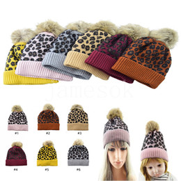 fitted skull caps Australia - Parent-child family Beanies Leopard warm fleece Soft Skull Cap pom pom baby Knitted hats Faux fur ball winter knit kid Earflap Cap DA051