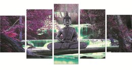 buddha oil canvas UK - 5 Pieces Posters and Prints Performing Buddha waterfall scenery modern Oil Painting Canvas Wall Pictures Living Room Home Decor 90-2