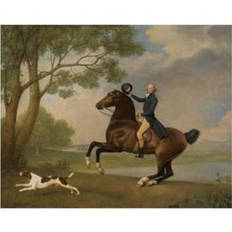 bay paintings NZ - George Stubbs paintings Portrait of Baron de Robeck Riding a bay hunter hand painted canvas art horses image for living room decor