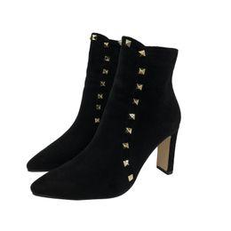 $enCountryForm.capitalKeyWord Canada - 2019 Women 8cm High Heels Fetish Boots Rivets Black Thick Block Heels Luxury Winter Warm Snow Ankle Boots Chunky Plush Shoes