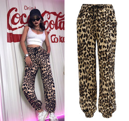 harem sweatpants for hip hop NZ - Leopard Print Womens Pants Fashion Hip Hop Sweatpants Full Length Drawstring Thin Jogger Pants for Summer