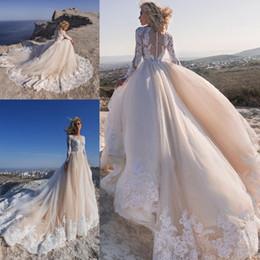 Long Robes Plus Size Australia - 2019 Champagne Bohemian Wedding Dresses Lace Appliqued Long Sleeves Boho Bridal Gowns A Line Plus Size Beach Wedding Dress Robe
