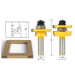 """Wholesale Rail & Stile Router Bit Set - Shaker 2 Pc. 1 2"""" Shank door knife Woodworking cutter Tenon Cutter for Woodworking Tools"""