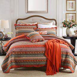Wholesale Vintage soft Quilts sets 100% Cotton 3 Piece Striped Boho Style Bedspread
