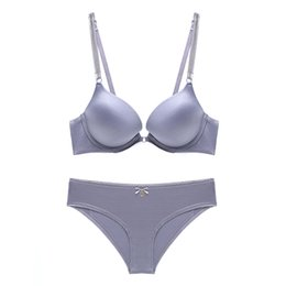 5b0f50c66e693 Solid color Breathable Comfortable Underwear Bra Sets For Women Sexy Lace  Triangle cup Wireless Thin Cotton Lingerie Set 12550