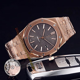 Royal blue Red bRacelet online shopping - Brand Cheap Royal Date OR OO OR Black Dial Automatic Mens Watch Sapphire Rose Gold Case Steel Bracelet High Quality Watches