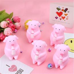 $enCountryForm.capitalKeyWord Australia - Mini Pink Pigs Toy Cute Milk Bottle Pig Squeeze Sound Sleep pig Animals Lovely Antistress Squishy Pigs Squishies Bath Toys for Kids