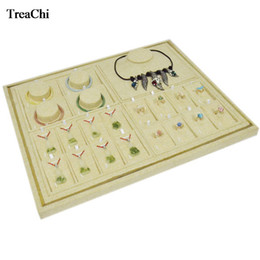 Linen Jewelry Necklace Display Australia - Multi-functional Portable Beige Linen Jewelry Organizer Case Jute Ring Bracelet Necklace Earring Storage Box Bangle Display Tray