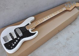 Black Blocks Australia - Free Shipping Factory Custom 4 Strings White Electric Bass Guitar with Black Pickguard,Maple Fingerboard,White Block Inlay,Can be Customized