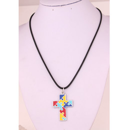 wholesale chain crosses NZ - HS18 Autism Hope Jewelry Multi-Colored enamel Autism Awareness puzzle Piece Cross religious Pendant with Snake Chain necklace  popcorn