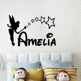 modern cartoon princess NZ - PERSONALISED FAIRY wall sticker girls name bedroom princess Custom name art vinyl sticker for kids room decor