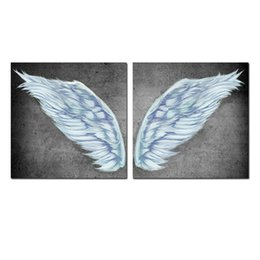 Piece Paintings Australia - Unframed Picture Printings Angel Wing Painting Picture Giclee Prints on Canvas 40cmx40cmx2 Pieces
