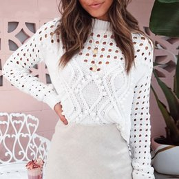 Wholesale white out sweater for sale - Group buy Fashion White Hollow Out Sweaters Women Autumn Casual Thin Short Knit Tops O Neck Female High Street Chic Jumpers