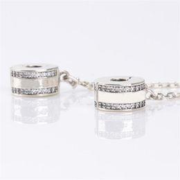 $enCountryForm.capitalKeyWord NZ - Luxury Fashion Women 925 Sterling Silver Clear CZ Safety Chain Clip fit Pandora Charms Bracelet DIY Jewelry Making