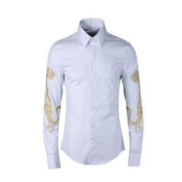 Wholesale tiger print plus size shirt for sale – custom Tiger Embroidery Camisa Masculino Newest International style men casual shirt Plus size XL slim Original men dress shirt