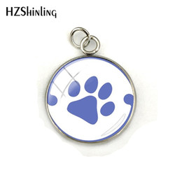 wholesale paw print Australia - 2019 New Love Paw Prints Pendant Dog Lovers Glass Cabochon Stainless Steel Jewelry Charm Christmas Gift for Children for Friend