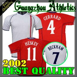 00c01d14c Retro World cup 2002 ENGLAND SOCCER JERSEY home away football shirt Gerrard  Lampard Scholes Owen RED