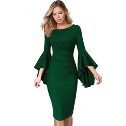 1927bb4c Casual business CoCktail dresses online shopping - Womens Elegant Ruched  Ruffle Flare Bell Sleeves Fitted Business