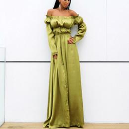 a259524a223 XS-L Size Sexy Polyester Bohemian Summer Maxi Dresses Womens Beach Dress  Asymmetrical Floor Length Slash Neck Green Women Long Dress