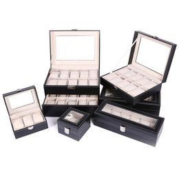 Modern Display Cases Australia - PU Leather Watch Boxes 2 3 5 6 10 12 20 24 Grids Watch Storage Organizer Box Display Watch Case
