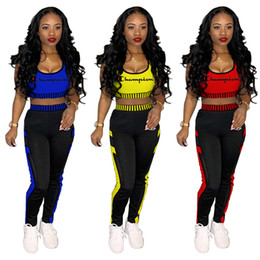 SportS Suit uniSex online shopping - C Letter Embroidery Tracksuit Suspender Crop Tank Tops Trousers piece Sport Suit Sleeveless Vest Pants Women Jogging Set Outfits LJJA2293