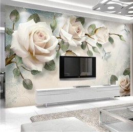 $enCountryForm.capitalKeyWord Australia - 3D Custom Modern Photo Wallpaper Mural Painting White Rose Flowers For Living Room Bedroom TV Background Floral Home Decor Paper