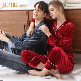 Night Suit Winter Australia - New men and women's warm sleepwear pajamas winter gold velvet pyjama femme pijama stich winter couple pajamas night suit pijamas
