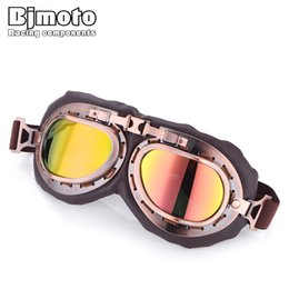 pilot goggles motorcycle helmet Australia - New 2018 Vintage Pilot Goggles glasses For Harley Retro Moto Scooter Riding Glasses Jet Retro Motorcycle helmet Goggles