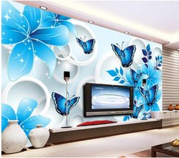 Discount live wallpaper lily - Blue lily butterfly 3D TV background wall mural 3d wallpaper 3d wall papers for tv backdrop