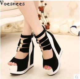 $enCountryForm.capitalKeyWord Australia - Woman Shoes 2017 Summer Genuine Women Platform Thick Soles Sandals Wedges High Heel 14.5cm Peep Toe Mixed Colors Sexyshoes Y19070503
