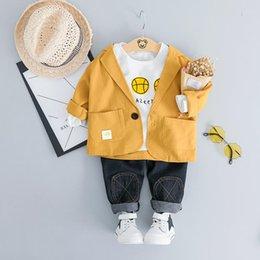 $enCountryForm.capitalKeyWord Australia - Boys Clothing Sets Spring Autumn Kids Ashion Casual Cotton suits Coats+tops+pants 3pcs wedding Outfits For Children Tracksuits Clothes