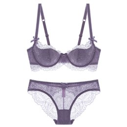 262ab54f63c Fashion Sexy Push Up Bra Set Plus Size Thin Bra And Panty Lace Embroidery  Pink Brassiere Women Underwear Lingerie Set D E Cup