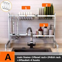 Wholesale New cm Stainless Steel Kitchen Dish Rack Plate Cutlery Cup Dish Drainer Sink Drying Rack Kitchen Organizer Storage Holder