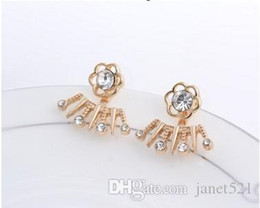 Jackets Studs Australia - Flower Crystal Cluster Ear Jackets For Girls  Ladies Gold Plated Bling Handmade Back Hanging Ear Studs
