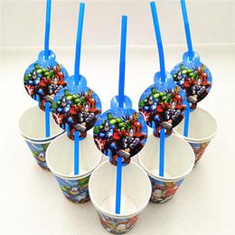$enCountryForm.capitalKeyWord Australia - 20p set Party Decoration Disposable Tableware Superhero Drinking Straws Cups kids birthday Party Supplies
